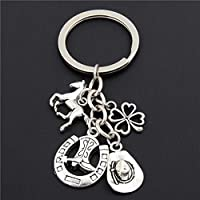 YCEOT 1Pc Charms Boot Keychain Cowboy Hat Keyring With Horseshoe Pendant Jewelry Cowboy Gift