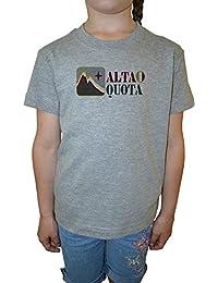 Alta Quota Niña Niños Camiseta Cuello Redondo Gris Algodón Manga Corta Girls Kids T-shirt Grey