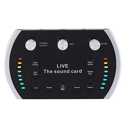 ASHATA Live Sound Card, Intelligent Buntes Licht Musik Live Übertragung Karaoke Sound Voice Changer,Tragbar Sprachsteuerung Live-Soundkarte Studio Audio Mixer für Live-Handy/Computer/WeChat/KTV (Computer Mixer Für Sound)