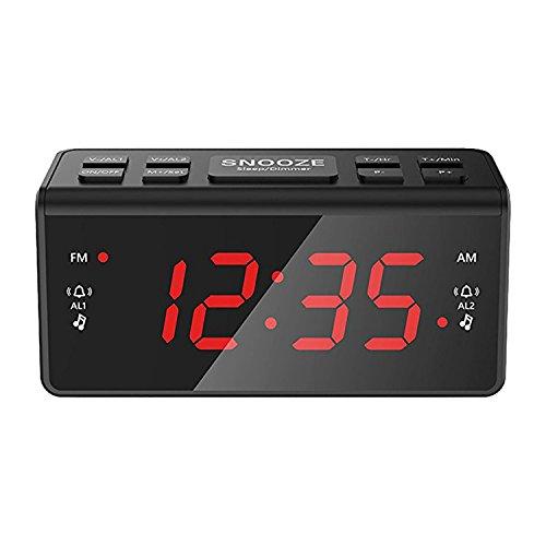 Kosee IC56 Digital FM AM Radiowecker Uhr Mit Nachtlicht-Funktion, Easy Snooze, Dual Alarm, Sleep-Timer - Anpassbare Helligkeitsregulierung