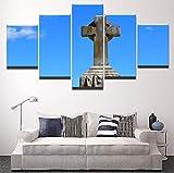MSDEWLH 5 Dipinti su Tela Quadro su Tela Immagini per Pareti Decorazioni per La Casa Croce Religiosa Lapide Soggiorno Religioso Quadro Stampato-12x16in 12x24in 12x32in
