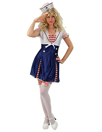 Adult Ladies Sweet Sailor Girl Navy Captain Uniform Fancy Dress Costume Small