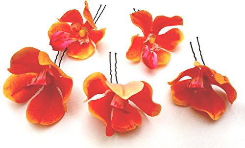 5-orange-orchid-artificial-hair-flower-pins-made-in-uk