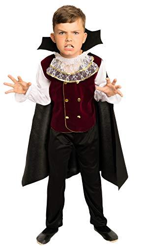 Kostüm Kinder Jungen - komplettes Halloween Vampirkostüm für Kinder Gr. 92 bis 128 (Large-110-116) ()