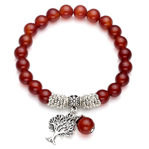 QGEM Edelstein Schmuck Energietherapie Yoga Armband mit Lebensbaum Anhänger 8mm-Kugelsteine Buddha-Armband Healing Balance Stretcharmband (Karneol)
