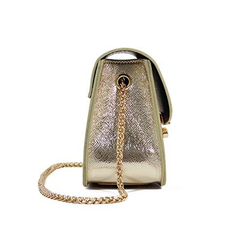 Canvas-Optik Luxus Clutch Mode elegante Damen Handtasche Leder-Optik Abendtasche Partytasche Handgelenktasche mit 3 Seitenfächern hochwertige Schultertasche Umhängtasche Damentasche (Gold) Gold