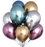 PuTwo Globos 50 Piezas Globos Metalicos Globo Helio de Color Cromo Decoración de Fiesta para Cumpleaños Boda Comunion Fiesta de gallina Fiesta de jardín y Fiesta de graduación