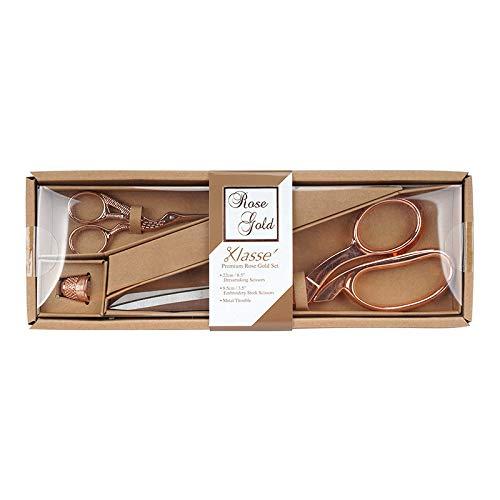 Klassé Premium Geschenk-Set Rosé Gold Schneiderschere 22 cm/Stickschere 9,5 cm/Fingerhut - Klasse Rose