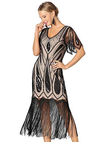 Konzeption 2 Kostüm - Metme Damen Pailletten Art Deco Spitzenkleid für 20er Jahre Cooktail Party Fransen Kleid - - Klein