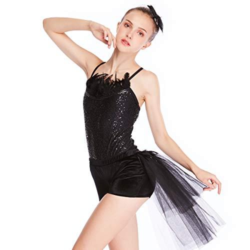 (MiDee 2 Stück Hemdchen, Oder So Was Paillettenbesetzte Tanz Kostüm Jazz Samt Shorts (Schwarz, LA))