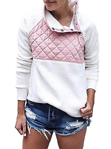 Vertvie Damen Pullover Mantel Kontrastfarbe Herbst Winter Chunky Slim Fit Fleece Pulli Turtleneck Jacke Rollkragen Sweatshirt (Weiß, XL)