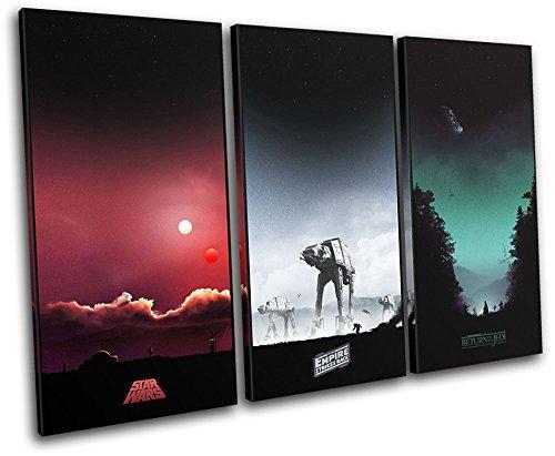 Bold Bloc Design - Star Wars Trilogy Posters Movie Greats 120x80cm TREBLE Leinwand Kunstdruck Box gerahmte Bild Wand hangen - handgefertigt In Grossbritannien - gerahmt und bereit zum Aufhangen - Canvas Art Print