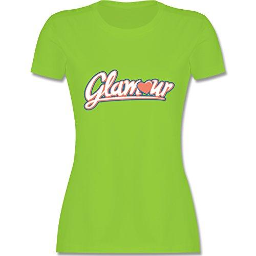 Typisch Frauen - Glamour - tailliertes Premium T-Shirt mit Rundhalsausschnitt für Damen Hellgrün