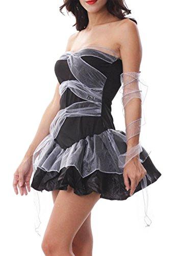 La Vogue-Donna Halloween Vampiro Vestito Cosplay Strega Abito Carnevale Massimo Busto 88cm Nero