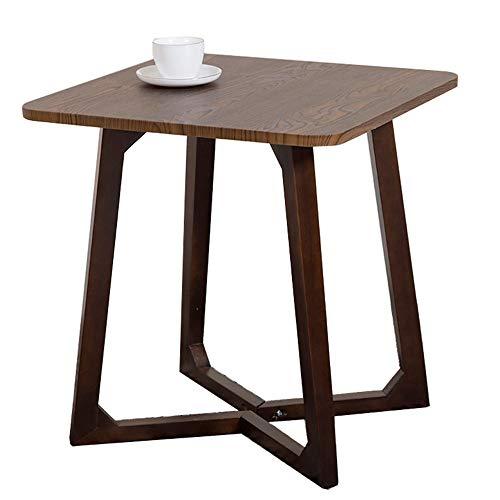 Table carrée Minimaliste Moderne/Petite Table Basse en Bois Massif/Salon Simple côté canapé, Petit Appartement économique, Brun, 57 × 57 × 60 cm