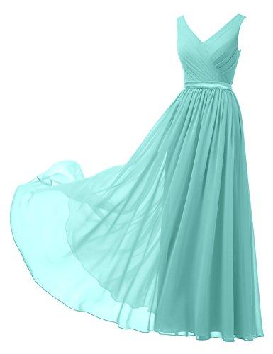 Alicepub A-Linie Chiffon Brautjungfernkleider Abendkleider Lang Ärmellos Ballkleider, Aqua-Blau, 50