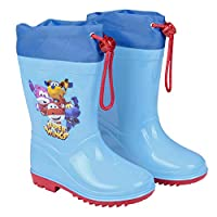 PERLETTI Super Wings Rain Boots for Kids - Official Super-Wings Waterproof Wellies Shoes with Anti Slip Outsole - Light Blue Wellington Boys with Colored Planes - Blue and Red - 4 Size