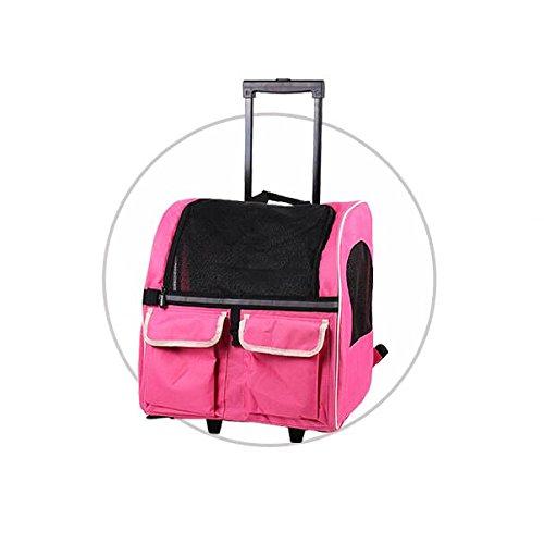 3in1 Hundetrolley / Rucksack / transportbox mit Taschen (rosa)
