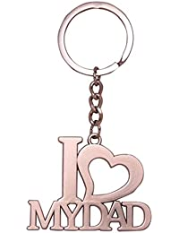 SLN I Love My Dad Keychain Silver Metal Love Keychain Keyring For Bike Bags Handbags Gift Collectible