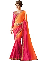 Magneitta Georgette Saree With Blouse Piece (97048_Orange&Pink_Free Size)
