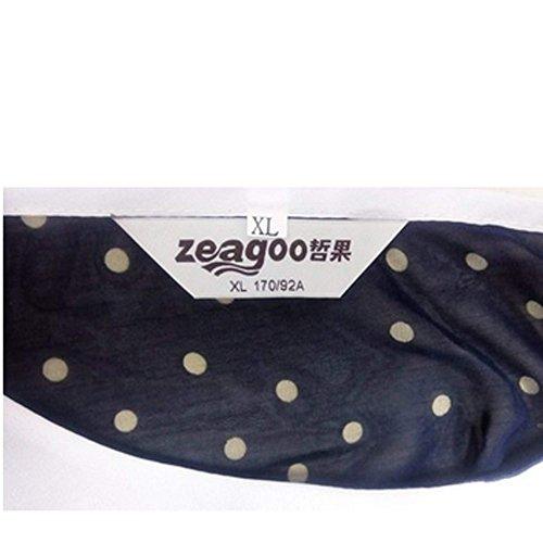 Zeagoo Femmes En Mousseline Point Poupée Col Manches Court Blouse Bleu