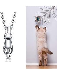 f39e198cd4f2 Handcess - Collar de plata con colgante de gato
