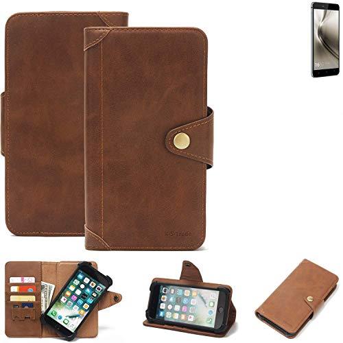 K-S-Trade Handy Hülle für Allview X3 Soul Schutzhülle Walletcase Bookstyle Tasche Handyhülle Schutz Case Handytasche Wallet Flipcase Cover PU Braun (1x)