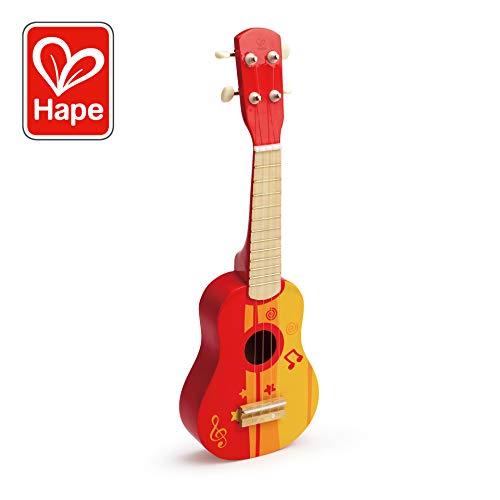 Hape E0316 Kinder-Ukulele aus Holz, rot