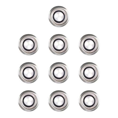 Minisun -- set di 10 -- lampada led, cromata e moderna da incasso a terra di colore bianco naturale per l'esterno con diametro di 30mm [4500k]