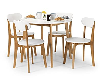 Julian Bowen Tiffany Dining Table Set with 4 Chairs, White/Oak Colour - low-cost UK dining table shop.