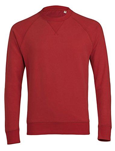 Herren Sweatshirt aus Bio-Baumwolle Mix mit 85% Baumwolle und 15% Polyester, Herren Bio Pullover, Pullover Bio, Herren Bio Sweatshirt,Sweatshirt Baumwolle (Bio) Rot