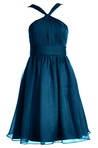 MACloth Women Knotted Chiffon Short Bridesmaid Dress Formal Cocktail Party Gown Teal