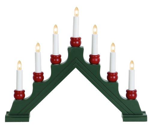 7-Light Star de madera candelabro Karin-7, verde/rojo con transparentes