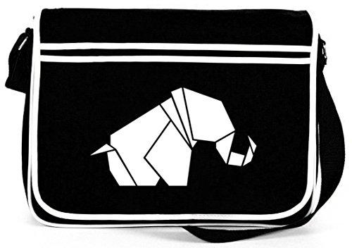 Shirtstreet24, Origami Elefant, Tier Natur Retro Messenger Bag Kuriertasche Umhängetasche Schwarz