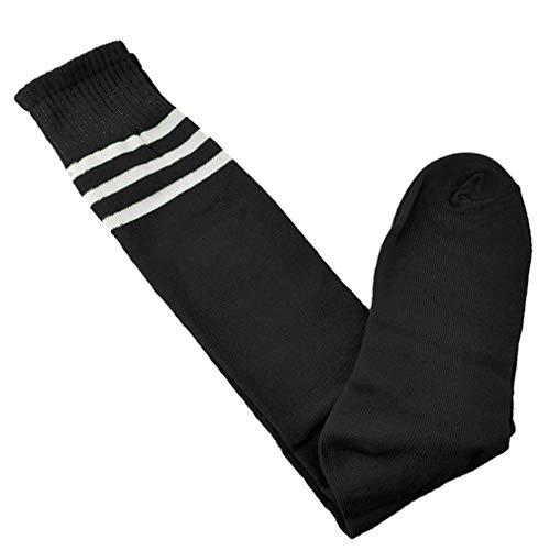 Beito 1 Paar Kinder Sport Fußball-Fußball-lange Socken Streifen auf Knie athletischer Sport Schlauch-Socken für Jungen, Mädchen, Frauen-Socken (Schwarz) (Athletische Socken Jungen)