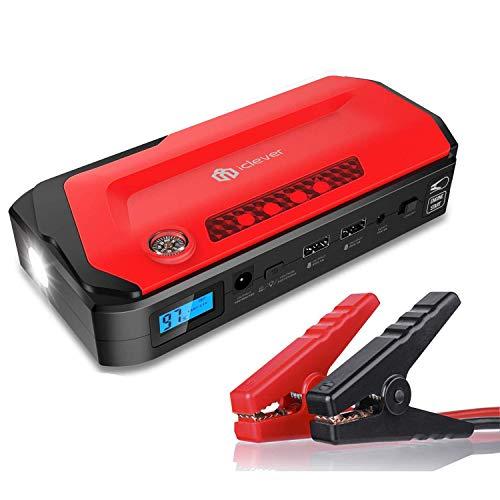 800A 18000mAh Tragbare Auto Starthilfe, iClever Autobatterie Anlasser Externes Akku-Ladegerät mit LED Taschenlampe, Kompass, LCD Display