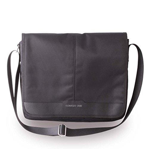 Cerruti 1881 CEMB13NYBK Echtleder Messenger Tasche, 33,02 cm (13 Zoll) schwarz