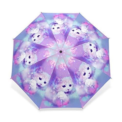 WFCUP Unique Design Cat Sonnenschirm Regenschirm 3 Falten Automatische Kind Frauen Regen Regenschirm Mädchen Schöne Tier Geschenk