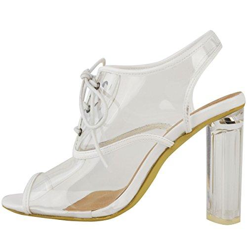 Donna perspex trasparente BLOCCO sandali tacco alto con lacci apertura sul retro Party Taglia BIANCO VERNICIATA/perspex trasparente