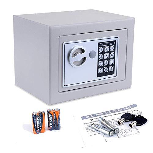 Hiriyt Digitaler Tresor Klein Elektronischer Safe Schlüsseltresor,Mini Safe Wandtresor Stahlsafe Möbeltresor 23 x 17 x 17 cm (Grau)