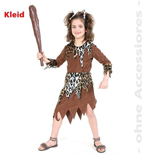 Kinder-Kostüm Steinzeit-Girl, Neandertaler, Urzeitmensch, Eiszeit, Höhlenmensch, Urmensch Kleid Mädchen-Kostüm (Kinder Feuerstein Kostüm)