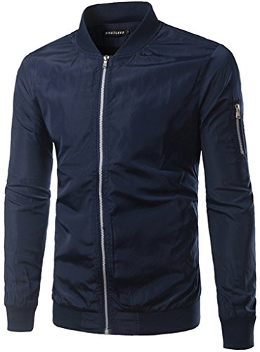 Whatlees Unisex Hip Hop Urban Basic gesteppte Bomberjacke Baseballjacken
