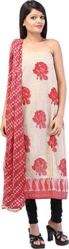 Palkin Women's Jute Unstitched Salwar Suit - (K40, Beige and Red)