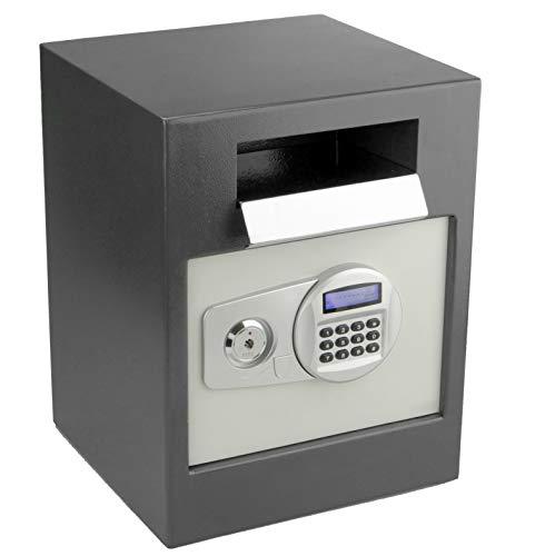 PrimeMatik - Caja Fuerte de Seguridad de Acero con Llaves y Ranura 35x33x45cm Negra BY061