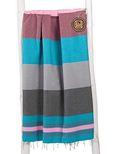 ZusenZomer Fouta Hamamtuch XL Extra Groß 200x200 - Hamam Badetuch Handtuch Hamam-Tuch XXL - 100% gekämmte Baumwolle - Fair Trade Hamamtücher (Schwarz, Petrol und pink)