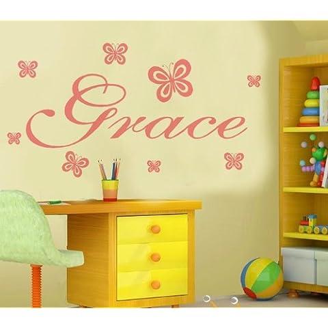Sticker-da parete con farfalla, personalizzata con nome, qualsiasi nome, il testo)-Boys SB1 stile Disney, oro, (Windsor Testa)