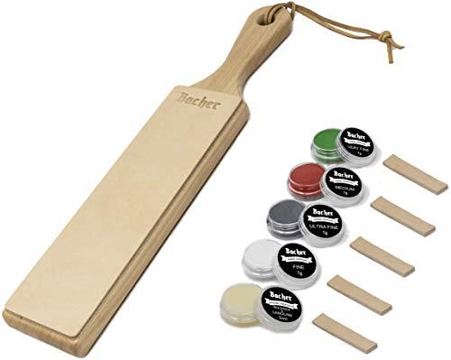 Strop d'affûtage en cuir BACHER Premium. Manche en bois dur recouvert de cuir de Russie recouvert d'écorce de 3mm d'épaisseur. Comprend un kit de 4 éléments d'affûtage.