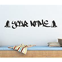 Personalised Graffiti Stunt Scooter, Wall Art Sticker 100cm (w) x 17cm (h) Tr18, Please state colour on purchase otherwise black will be sent