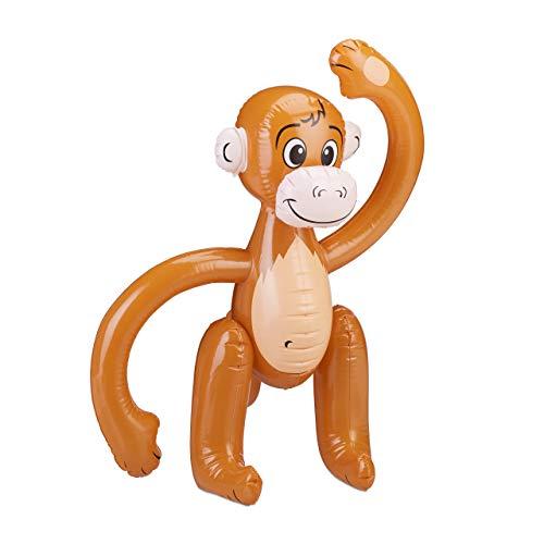 Relaxdays Scimmia, Scimmietta, Animali Gonfiabili Safari, per Feste di Compleanno Bambini, Carnevale, Piscina, Colore Marrone, 10024252