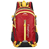 HENDTOR 30L Men Women Sac à Dos extérieur Hiking Rucksack Water Resistant Sport Bags Mountaineer Climbing Bag Camping Backpack Red 30-40L